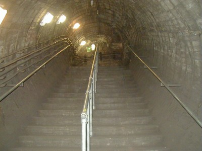 Stairway down to platform level