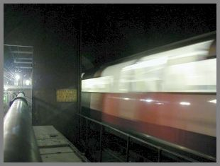 A south bound train zooms past