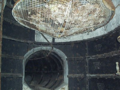 The bottom of the vent shaft