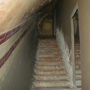 Alternate stairway to bathroom area