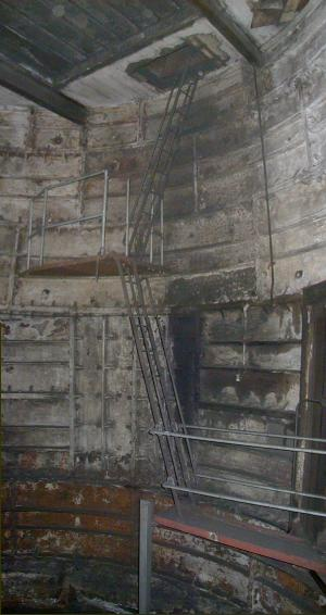 Lift shaft, showing bomb protection baffle