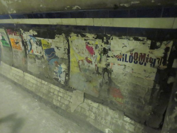 Posters in the southern interchange tunnel