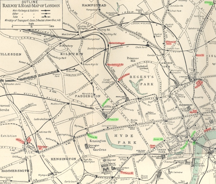 1929 Railway map of London