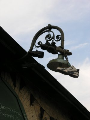 Shoes on a lamp